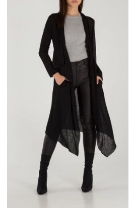 Wing Back Drape Cardi Black