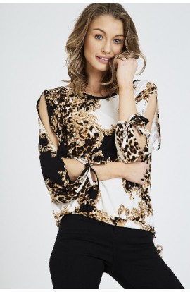 Vintage Print Cut Out Sleeve Top