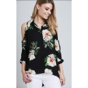 Cold Shoulder Floral Shirt Black