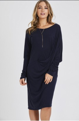 Drape Crossover Dress Navy