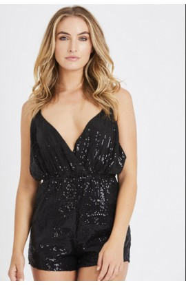 Sequin Playsuit Black