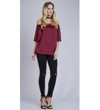 Short Sleeve Off Shoulder Top Burgundy