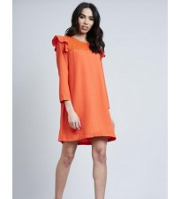 Shoulder Frill Eyelet Dress Orange