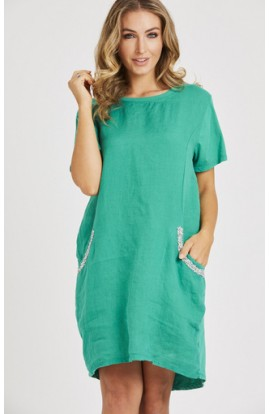 Embellished Pocket Dress Green
