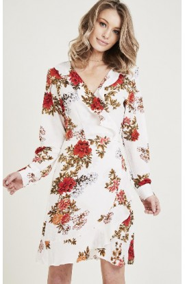 Floral Wrap Dress White