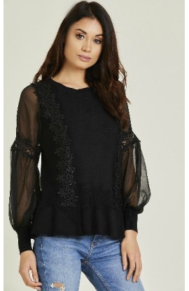 Crochet Detail Jumper Black