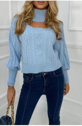 Polo Neck Cut Out Jumper Blue