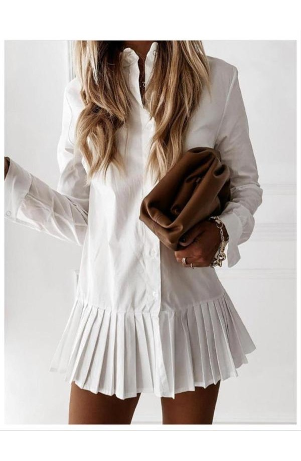 Pleat Bottom Shirt Dress White