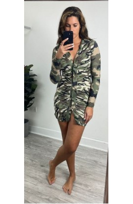 Camouflage Button up Dress