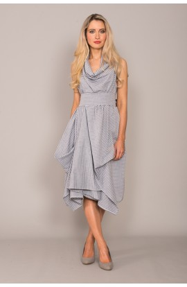 Wrap Ruched Dress Blue Stripe