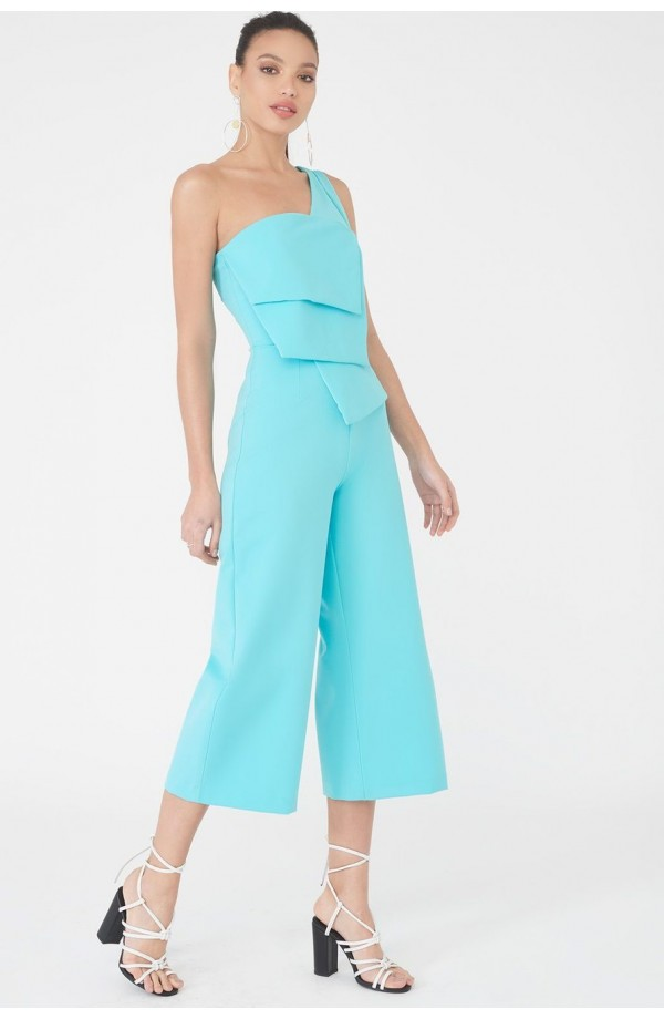 Layered One Shoulder Culotte Jumpsuit