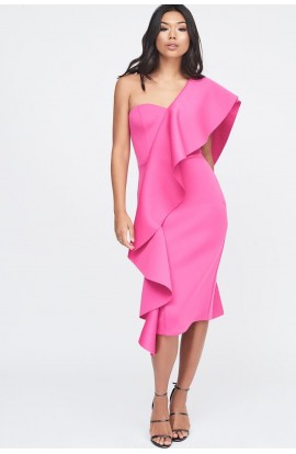 Lavish Alice Exaggerated Frill One Shoulder Scuba Midi Dress Pink LA11003