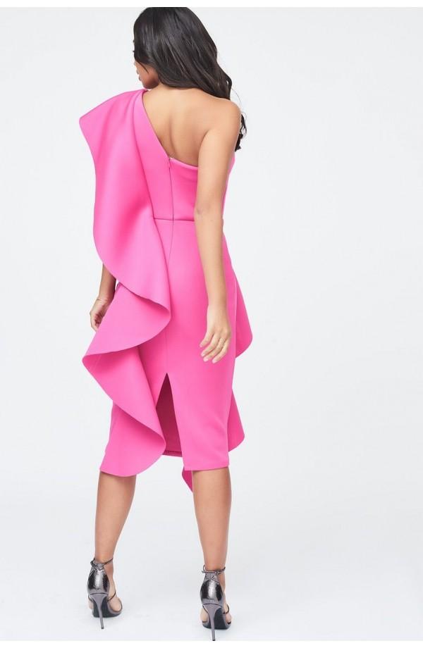 Lavish Alice Exaggerated Frill One Shoulder Scuba Midi Dress Pink LA11003