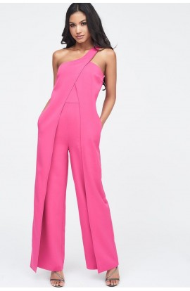 d55115465a5 Lavish Alice One Shoulder Wrap Over Wide Leg Jumpsuit LA11008