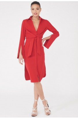 Gathered Tie Waist Shirt Dress