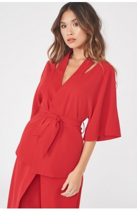 Cut Out Shoulder Kimono Jacket Red