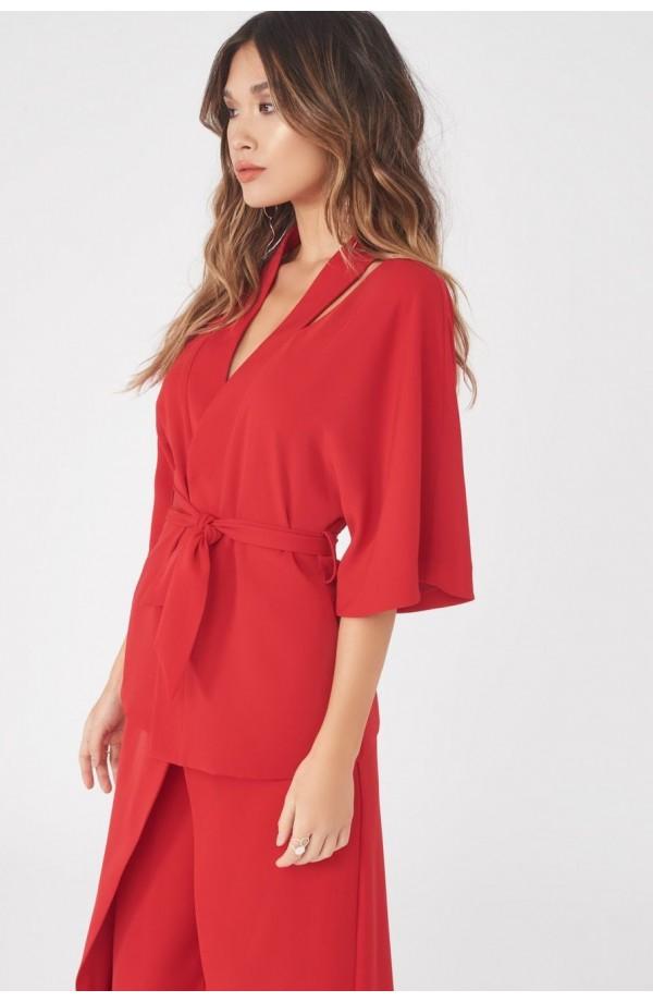Lavish Alice Cut Out Shoulder Kimono Jacket Red LA788