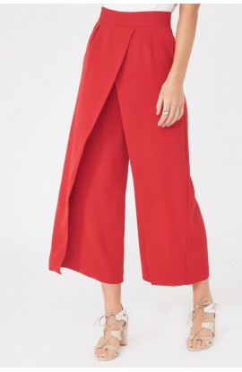 Lavish Alice Wrap Over Culottes Red LA789