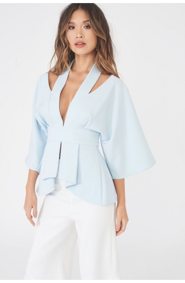 Cut Out Shoulder Kimono Top Blue