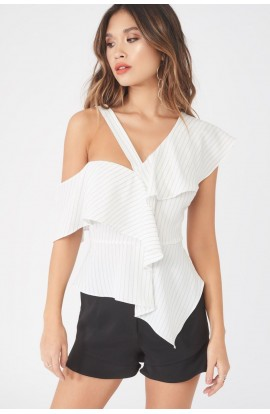 Lavish Alice Pinstripe Asymetric Ruffle Top LA880