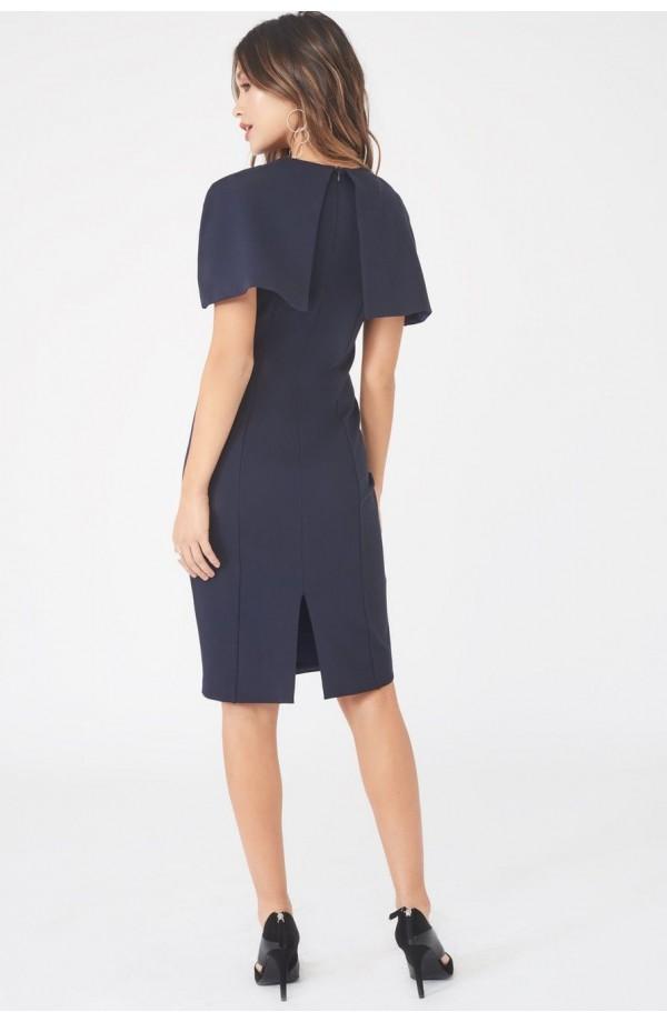 Lavish Alice Plunge Front Caped Dress Navy LA829