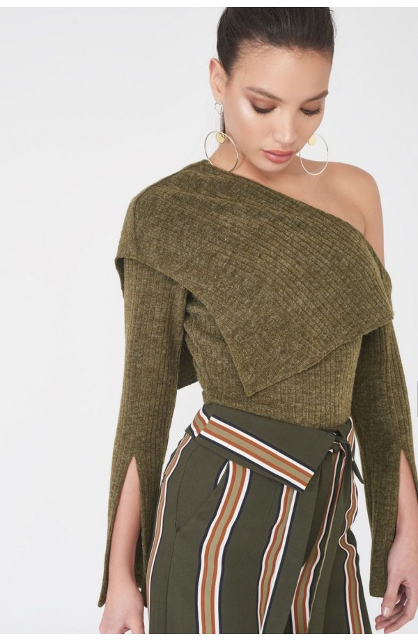 Lavish Alice One Shoulder Knit Jumper Khaki LA867