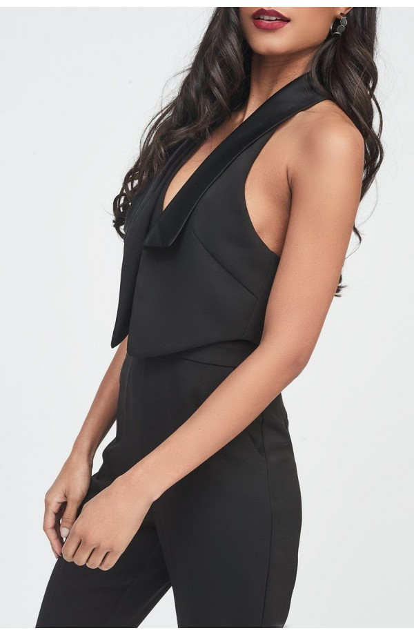 Lavish Alice Double Layer Tuxedo Jumpsuit LA958