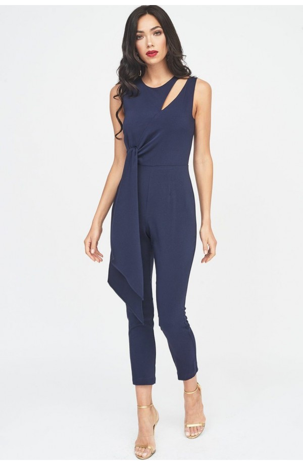 Lavish Alice Tapered Jumpsuit With Draped Tie Detail Navy LA910