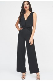 Lavish Alice Origami Wide Leg Jumpsuit Black LA902