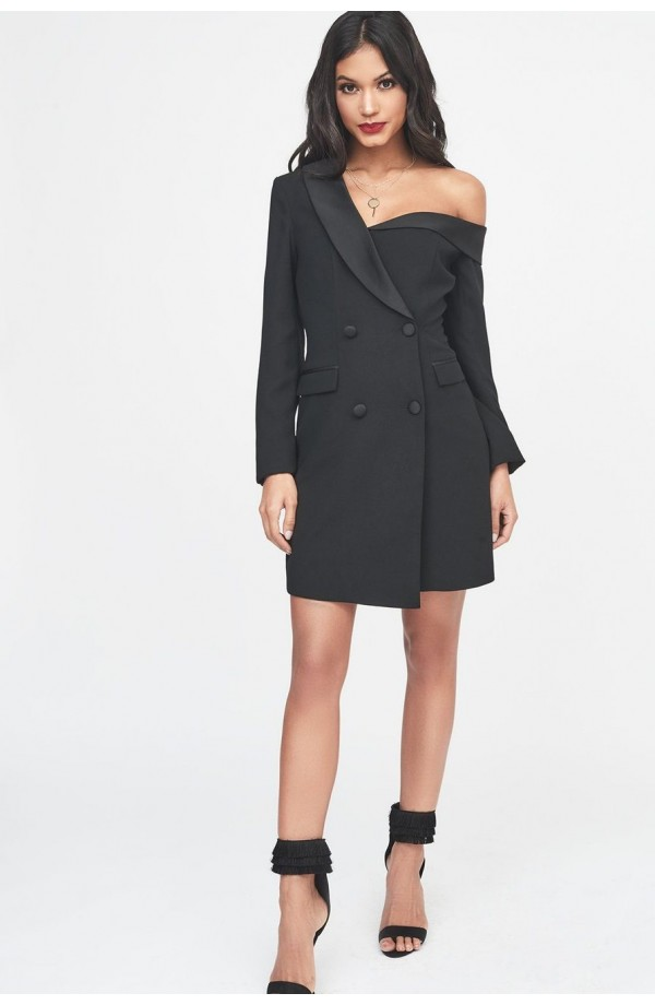 Lavish Alice Off Shoulder Tuxedo Mini Dress LA940