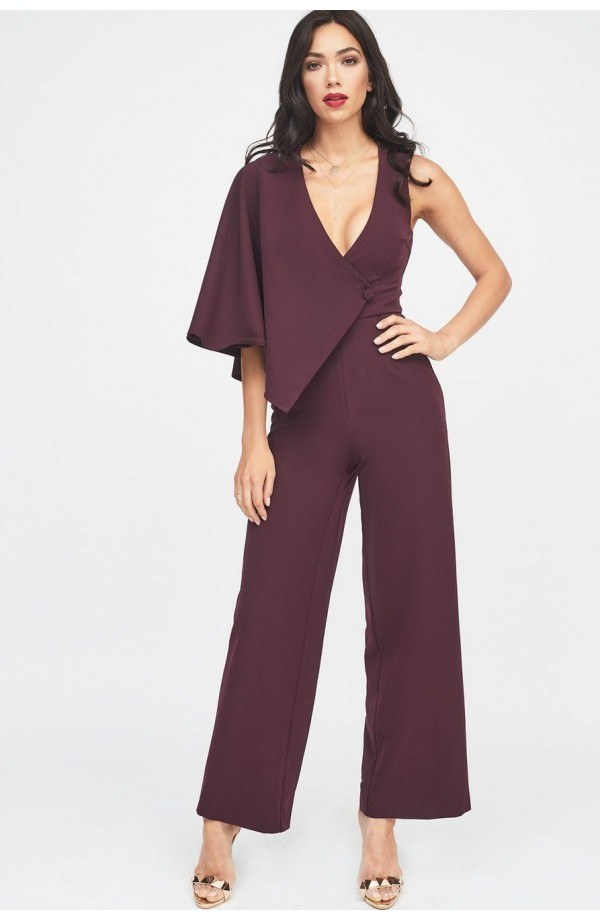 Lavish Alice Draped Sleeve Wide Leg Jumpsuit LA949