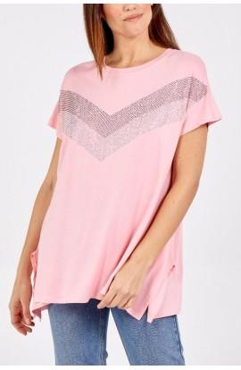 Sequin Detail Top Pink