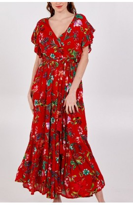 Floral Maxi Dress Red