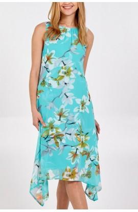 Floral Chiffon Dress Teal