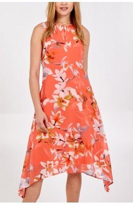Floral Chiffon Dress Coral