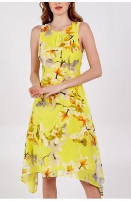 Floral Chiffon Dress Yellow