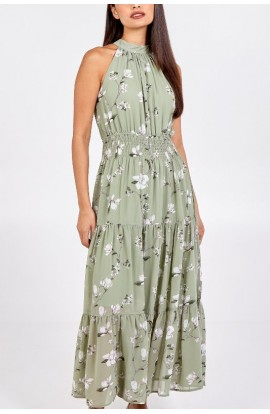 High Neck Floral Dress Sage