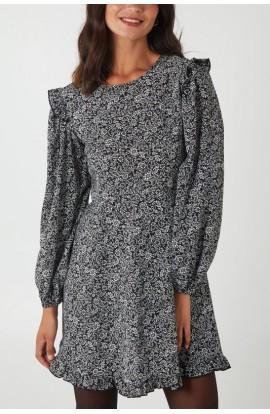 Floral Long Sleeve Dress Black