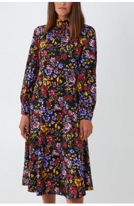 Floral Midi Dress Black