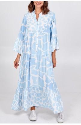 Button Up Giraffe Print Dress Blue