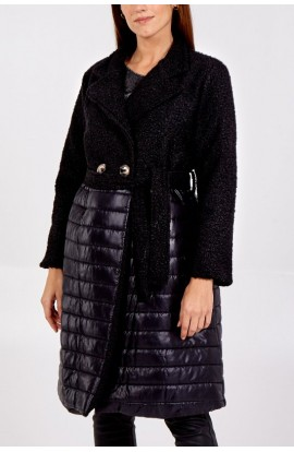 Long Two Fabric Jacket Black
