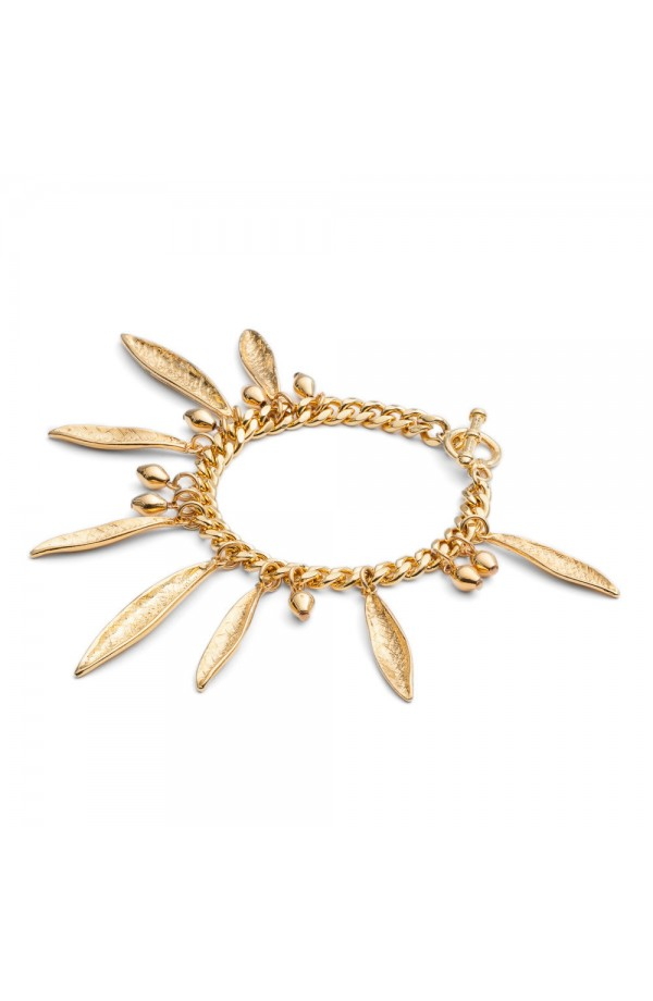 Pea Pod Statement Bracelet Gold