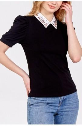Sequin Collar Top Black