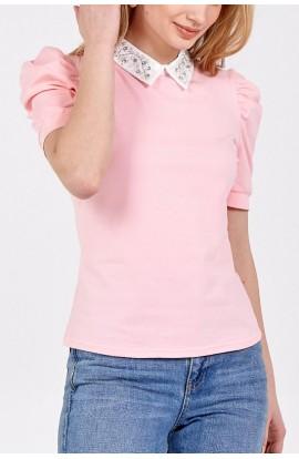 Sequin Collar Top Pink