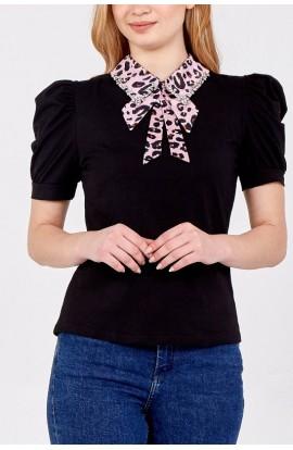 Leopard Collar Top Black