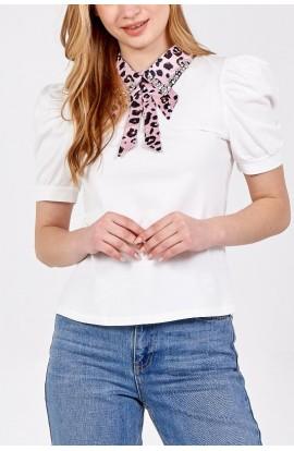 Leopard Collar Top White