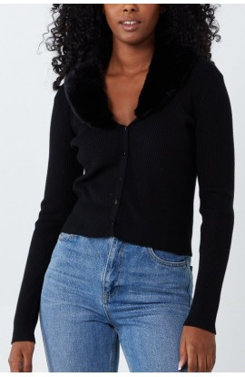 Faux Fur Detail Cardigan Black