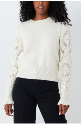 Knitted Sleeve Jumper  Cream