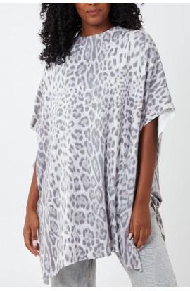 Leopard Poncho Grey
