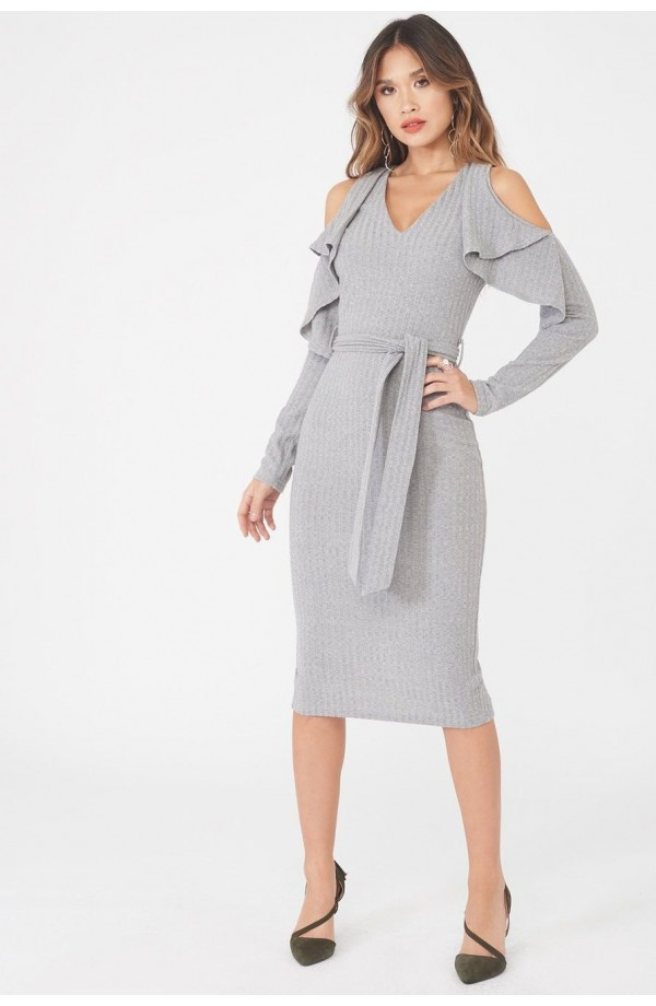 Lavish Alice Cold Shoulder Knit Dress Grey LA862